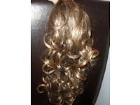 Light brown/blonde clip on hair piece and accessories never used