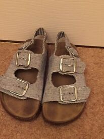 NEXT Girls Blue Denim Effect Sandals Uk12