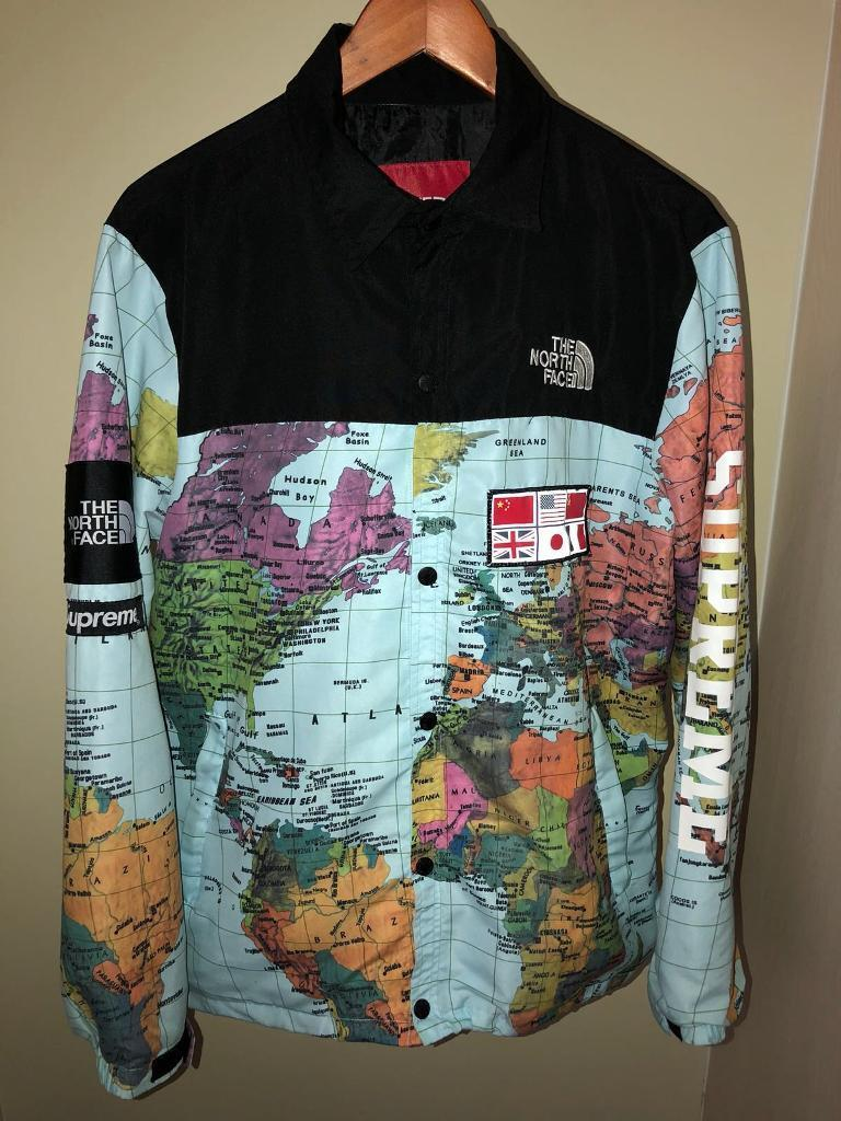Men's Northface X Supreme World Map Jacket Size Large | In Sutton