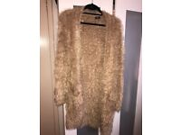 Woman's tan colour fluffy cardigan size 8