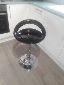 Swivel black modern bar stool
