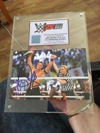 John Cena signature and glass frame.