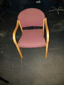 6x Maroon meeting chairs with wooden frames in good condition only £25.00 each
