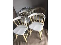 Shabby chic set of 4 solid oak chairs