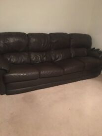 BROWN LEATHER CORNER SUITE FREE TO GOOD HOME! CAN BE USED AS NORMAL FOUR SEATER TOO