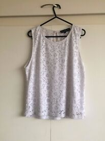 WHITE COTTON AND LACE TOPSHOP LADIES SIZE 10 TOP- £8