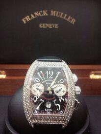 FRANCK MULLER CONQUISTADOR 8005 CC KING DIAMOND SET STEEL AUTOMATIC WRISTWATCH
