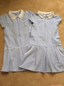 Gingham school dresses x 2
