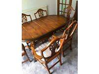 Solid teakwood table with 6 chairs