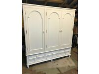Huge shabby chic wardrobe cream ivory armoire french style