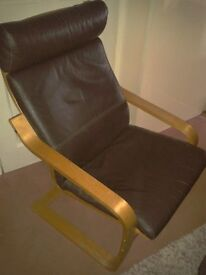 Ikea Adults leather Poang bentwood chair in very good condition
