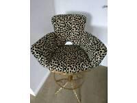 Luxury Designer Leopard Print Upholstered Bar Chair