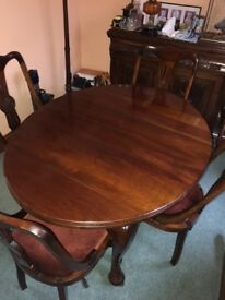 Mahogany antique extendable table and chairs