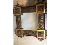 2 x gold colour frame luxury antique mirrors sizes 75x75 and 67 cm