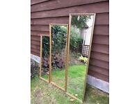 Set of Three 3 Graduating Gilt Edged Tall Slim Wall Mirrors from 3ft to 4ft
