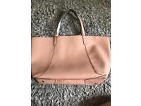 Zara baby pink and silver reversible bag