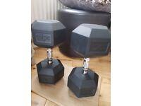 2 * 30 KG high quality rubber dumbbells - £50