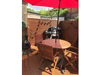 wooden garden table and 4 chairs including canopy