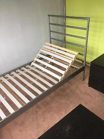 Single metal bed frame with adjustable head