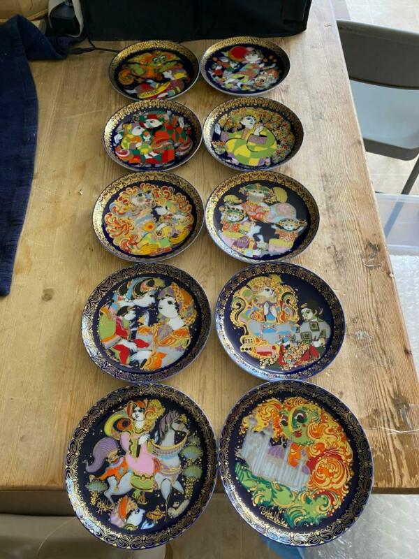 10 Rosenthal Bjorn Wiinblad Aladdin & Magic Lamp Plates 1-10 EUC Made Germany