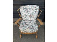 Vintage retro antique wooden Ercol style armchair mid century 60s 70s chair