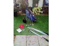 FULL SET PINSEEKER GOLF CLUBS + GOLF BAG + GOLF TROLLEY + GOLF BALLS & TEES + BRAND NEW KANGOL CAP