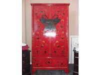 Wardrobe/ chinese Antique/ butterfly design..Beautiful laquered shine imported from hong kong..