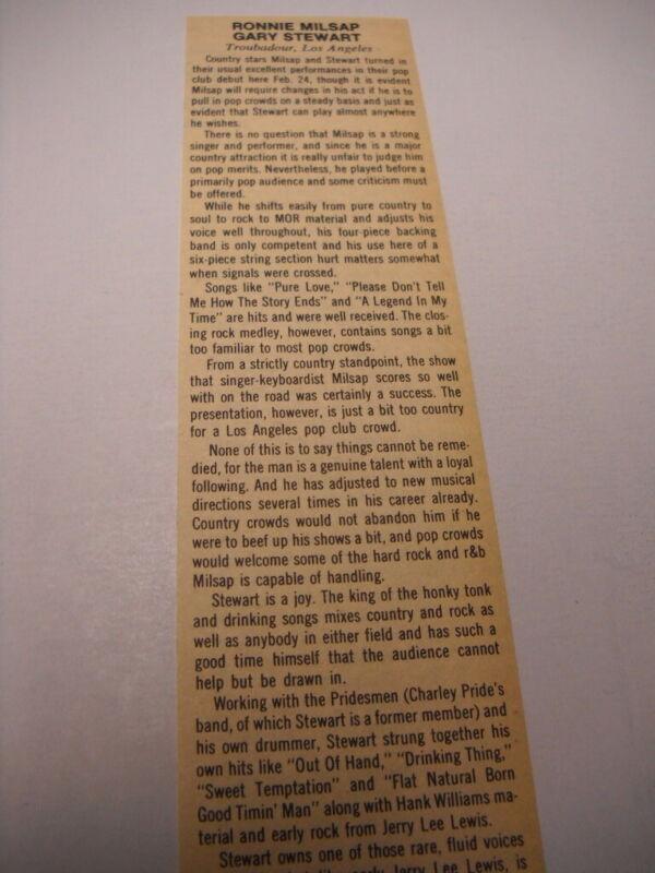 RONNIE MILSAP Gary Stewart at Troubadour L.A. original 1976 music biz review
