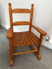 Wooden child's rocking chair