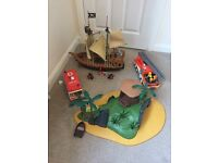 Job Lot Vintage PlayMobile Toys - Pirate Ship, Desert Island, Fire Engine, Ambulance and Accessories