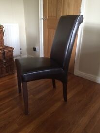 6 dark chocolate brown leather dining chairs with dark wood legs