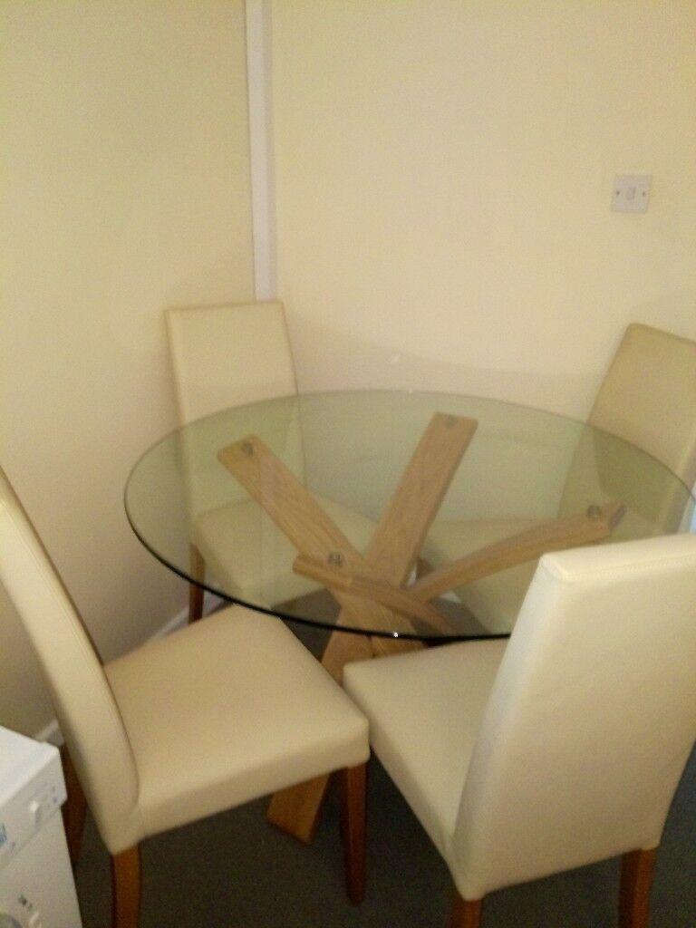 Jasper Conran Dining Table Oak And Four Cream Chairs