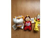 Disney Store authentic Beauty & the Beast mini beanbag toys Mrs Potts, Lumiere & Cogsworth