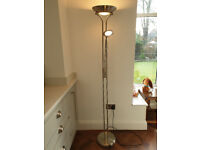 Brushed Chrome Tall Standing & Reading Combined Light