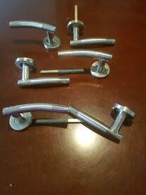 3 pairs of Brushed Nickel rose door handles