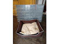Large Silver Dog Cage and Padded Bed,