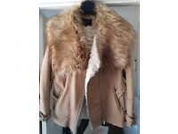 River island faux fur coat size 16 smoke and pet free home
