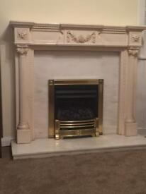 Fire surround with back plate and hearth