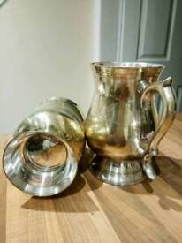 Two Silver plated Tankard Cup Goblet.