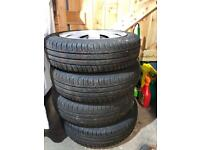 Set of 4 Continental Tyres 155/65 R14 and wheels for Toyota Aygo, Peugeot 106, Citroen C1