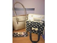 Brand new gold hand bag, wash bag with matching make up bag