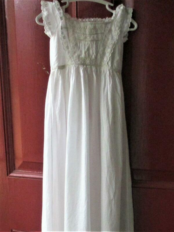 Antique Ayrshire Long Baby Christening Gown Handmade Heirloom Lace Dress c 1850