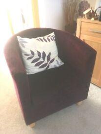 Chunky Tub Chair with Cushion-Dark Plum-Lounge /bedroom