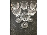 5 x Vintage Crystal Small Wine / Port / Liqueur Glasses - Very Good Condition