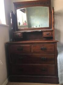 Antique Edwardian Dresser and Mirror