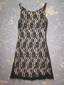 New Look Black Lace, NudeLlined, Dress, Size 10.