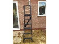 Vintage Five Rung Wooden Step Ladder With Platform Top Painted