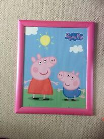 Large framed peppa pig picture