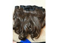 Women's warm brunette 5piece hair extensions
