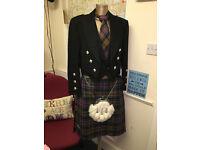Fabulous Complete Mens Kilt Outfit, Black Wool Prince Charlie Kilt Jacket & Waistcoat & Tartan Kilt